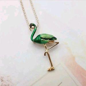 Jewelry - New Green Flamingo Bird Pendant Brooch Necklace